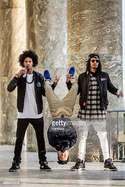 In this handout image provided by Red Bull Dancers 'Les Twins' Larry and Laurent Bourgeois of France and BBoy Hongyul 'Hong 10' Kim of Korea pose for...