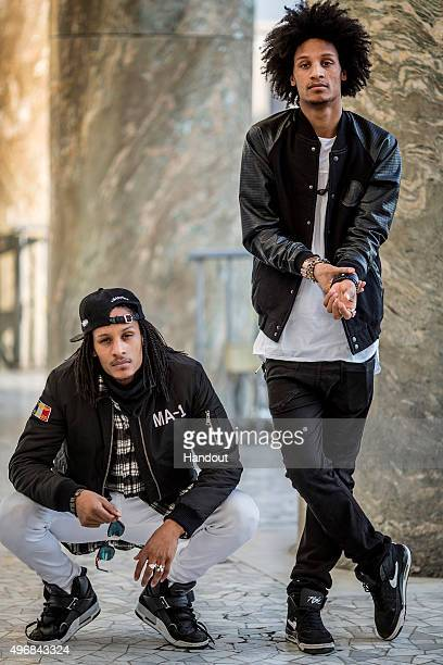 In this handout image provided by Red Bull Dancers 'Les Twins' Laurent and Larry Bourgeois of France pose for a photo at Spazio Novevcento prior to...
