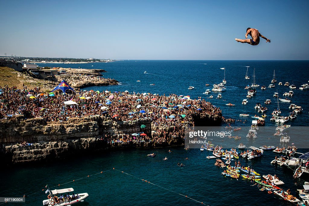 In this handout image provided by Red Bull David Colturi of the USA dives from the 27 metre platform during the fifth stop of the Red Bull Cliff...