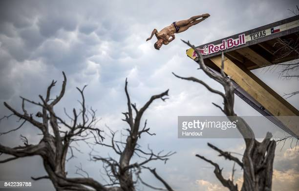 In this handout image provided by Red Bull David Colturi of the USA dives from the 27 metre platform during the first competition day of the fourth...