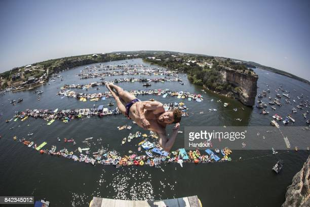In this handout image provided by Red Bull David Colturi of the USA dives from the 27 metre platform during the fourth stop of the Red Bull Cliff...