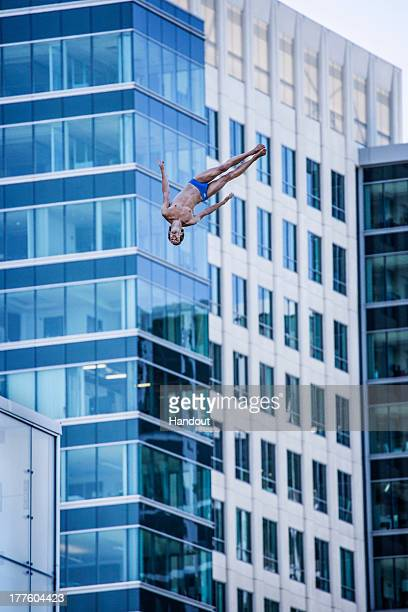 In this handout image provided by Red Bull Gary Hunt of the UK dives from the 275 metre platform during the first round of the fifth stop of the Red...