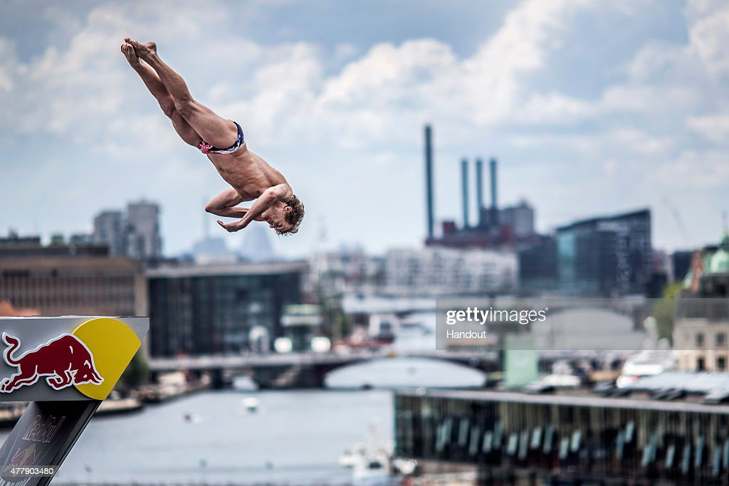 In this handout image provided by Red Bull, Gary Hunt of the UK dives from the 28 metre platform on the Copenhagen Opera House during the fourth stop of the Red Bull Cliff Diving World Series, Copenhagen, Denmark.