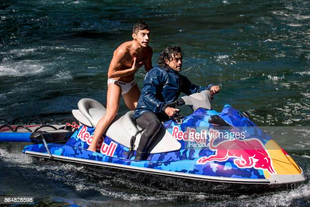 In this handout image provided by Red Bull Jonathan Paredes of Mexico reacts upon learning he won the World Series after his final dive during the...