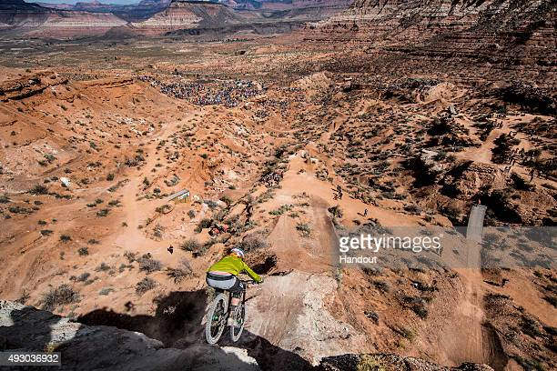 In this handout image provided by Red Bull Kelly McGarry of New Zealand competes during finals of the tenth edition of Red Bull Rampage freeride...