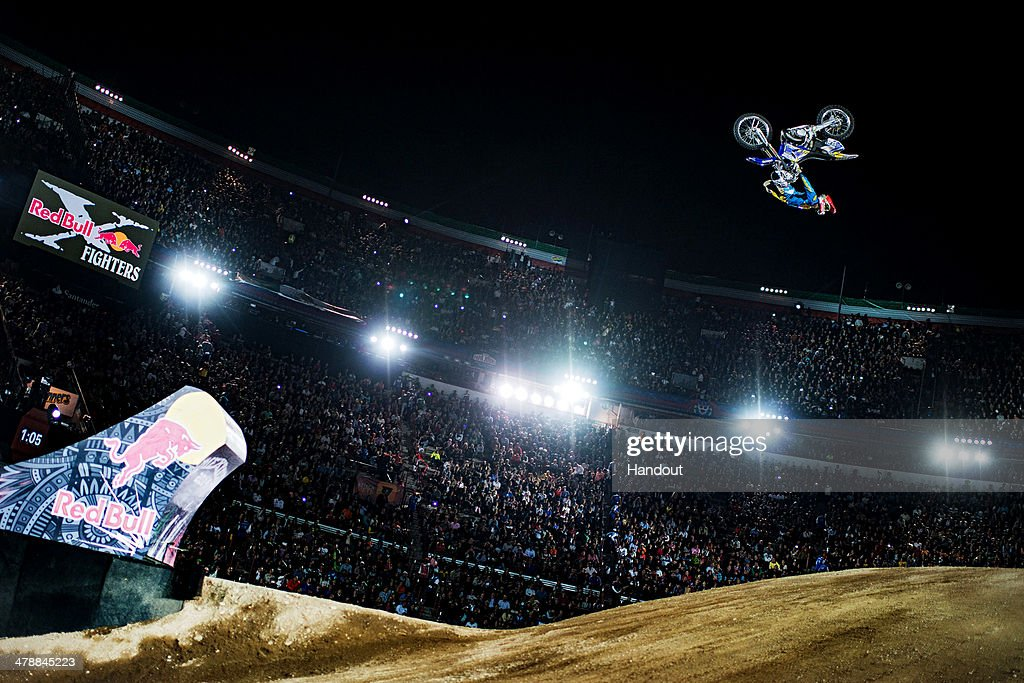 In this handout image provided by Red Bull, Maikel Melero of Spain performs during the finals of the first stop of the Red Bull X-Fighters World Tour at the Monumental Plaza de toros on March 14, 2014 in Mexico City, Mexico.