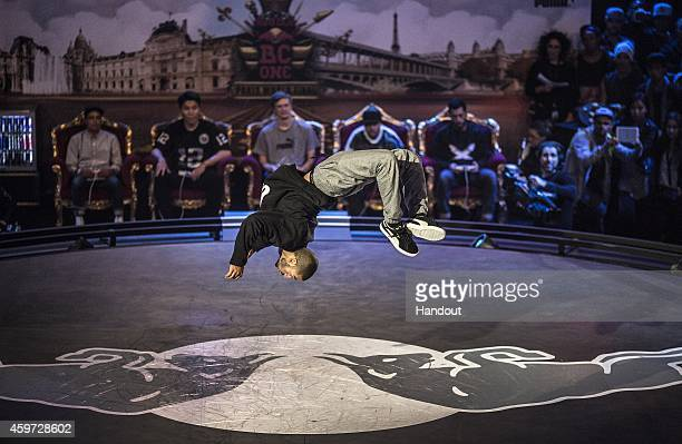 In this handout image provided by Red Bull Miguel 'Gravity' Rosario of the USA competes at the Red Bull BC One Breakdancing World Finals at La Grande...