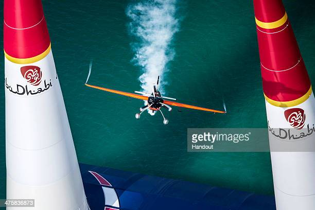 In this handout image provided by Red Bull Nicolas Ivanoff of France performs during the race for the first stage of the Red Bull Air Race World...