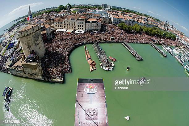 LA ROCHELLE FRANCE MAY 17 In this handout image provided by Red Bull Orlando Duque of Colombia dives from the 275 metre platform on the Saint Nicolas...
