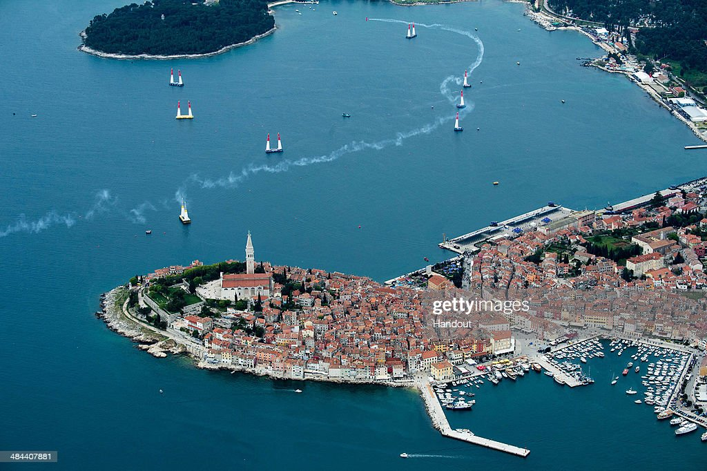 In this handout image provided by Red Bull Pete McLeod of Canada performs infront of the city of Rovinj during the qualifying for the second stage of...