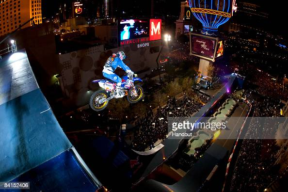 In this handout image provided by Red Bull Photofiles Robbie Maddison jumps his bike more than 100 feet high and to land on the top of the 96foothigh...