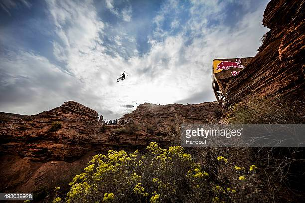 In this handout image provided by Red Bull Remy Metailler of France competes during finals of the tenth edition of Red Bull Rampage freeride event...