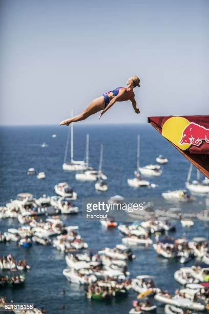 In this handout image provided by Red Bull Rhiannan Iffland of Australia dives from the 21 metre platform during the third stop of the Red Bull Cliff...
