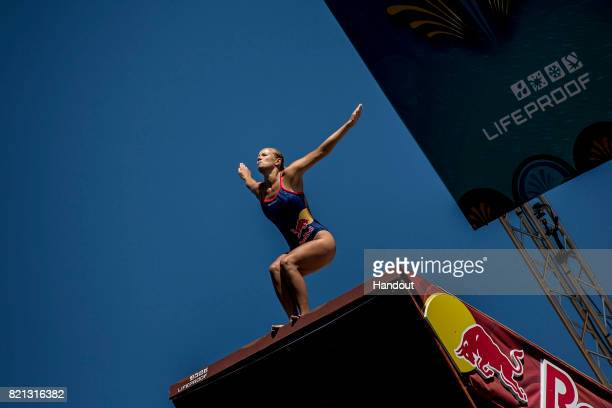 In this handout image provided by Red Bull Rhiannan Iffland of Australia dives from the 21 platform during the third stop of the Red Bull Cliff...