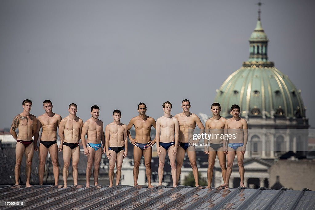 In this handout image provided by Red Bull, shows the 10 series divers, (L-R) Matt Cowen of the UK, Artem Silchenko of Russia, David Colturi of the USA, Blake Aldridge of the UK, Steven LoBue of the USA, Orlando Duque of Colombia, Gary Hunt of the UK, Michal Navratil of the Czech Republic, Anatoliy Shabotenko of the Ukraine and Jonathan Paredes of Mexico on the roof of the Copenhagen Opera House during the second stop of the Red Bull Cliff Diving World Series on June 20, 2013 at Copenhagen, Denmark.