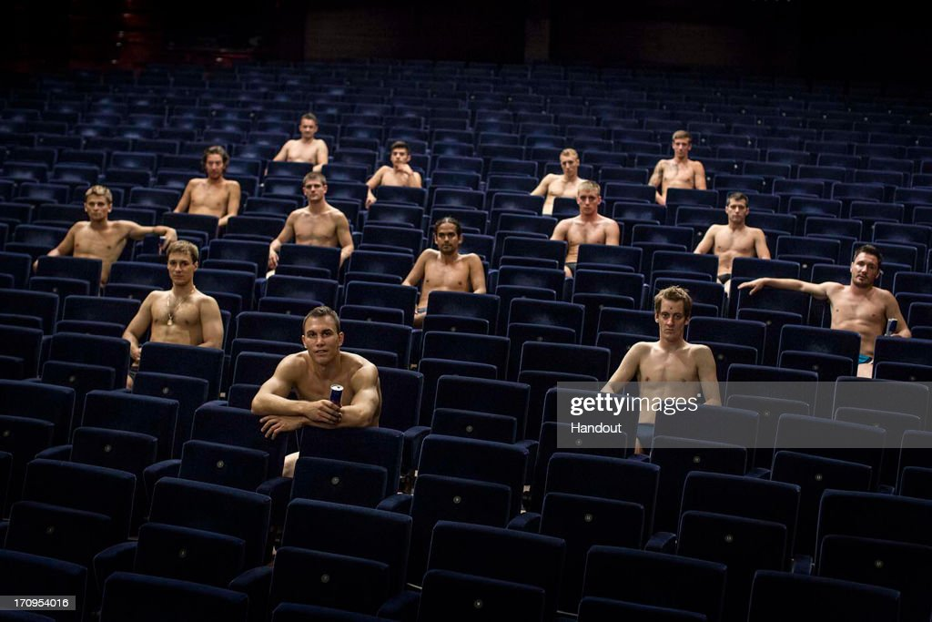 In this handout image provided by Red Bull, shows the 14 round divers, (L-R) Anatoliy Shabotenko and Sasha Kutsenko of the Ukraine, Cyrille Oumedjkane of France, Christian Wurst of Germany, David Colturi of the USA, Michal Navratil of the Czech Republic, Jonathan Paredes of Mexico, Orlando Duque of Colombia, Kris Kolanus of Poland, Artem Silchenko of Russia, Gary Hunt and Matt Cowen of the UK, Steven LoBue of the USA, and Blake Aldridge of the UK sitting in the theatre of the Copenhagen Opera House during the second stop of the Red Bull Cliff Diving World Series on June 20, 2013 at Copenhagen, Denmark.