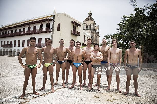 In this handout image provided by Red Bull the 10 permanent series divers Jonathan Paredes of Mexico Jucelino Junior of Brazil Orlando Duque of...