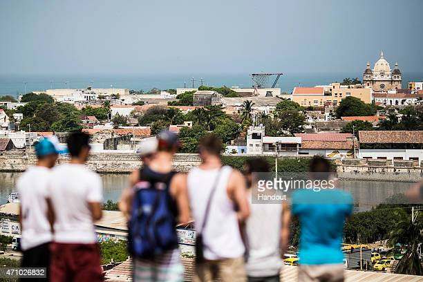 In this handout image provided by Red Bull The divers get a view of the platform from Castillo San Felipe de Barajas during a city tour prior to the...