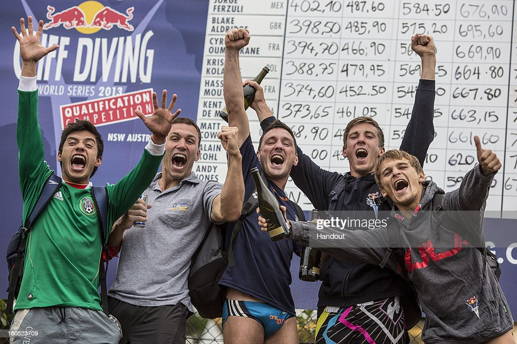 In this handout image provided by Red Bull, the five qualified divers (L-R) Jonathan Paredes of Mexico, Michal Navratil of the Czech Republic, <a gi-track='captionPersonalityLinkClicked' href=/galleries/search?phrase=Blake+Aldridge&family=editorial&specificpeople=4900819 ng-click='$event.stopPropagation()'>Blake Aldridge</a> and Matt Cowen of the UK, and Anatoliy Shabotenko of the Ukraine celebrate after the Qualification Competition for the 2013 Red Bull Cliff Diving World Series on February 2, 2013 at Cattai, Sydney, Australia.