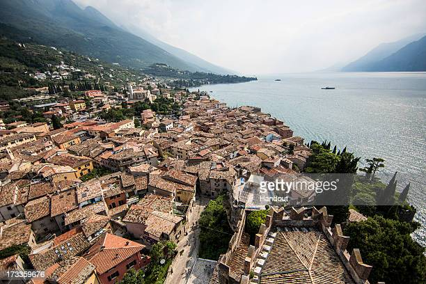 In this handout image provided by Red Bull the town of Malcesine on the shores of Lake Garda is viewed from the top of Scaliger Castle prior to the...