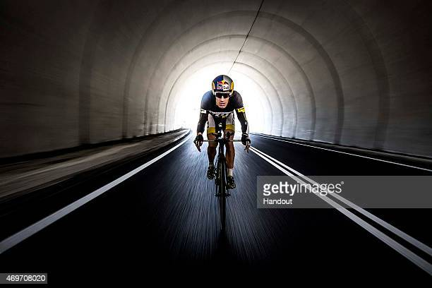 In this handout image provided by Red Bull Triathlete and Ironman World Champion Sebastian Kienle of Germany takes part in a training session on...