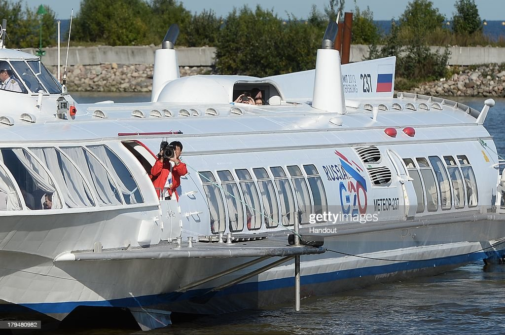In this handout image provided by Ria Novosti, A Meteor hydrofoil takes journalists to the G20 Summit's International Media Centre ahead of the G20 summit on September 4, 2013 in St. Petersburg, Russia. World leaders are arriving in Russia ahead of the start of the G20 summit which is scheluded to run between September 5th and 6th.