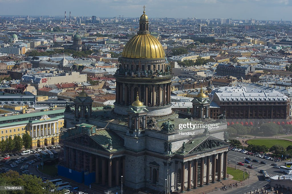 In this handout image provided by Ria Novosti, An aerial view of St. Isaac's Cathedral ahead of the G20 summit on August 29, 2013 in St. Petersburg, Russia. The G20 summit is scheduled to run between September 5th and 6th.