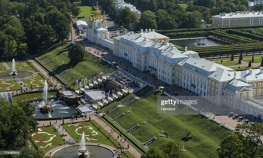 In this handout image provided by Ria Novosti, An aerial view of the Grand Palace of the Peterhof State Museum Reserve ahead of the G20 summit on August 29, 2013 in St. Petersburg, Russia. The G20 summit is scheduled to run between September 5th and 6th.