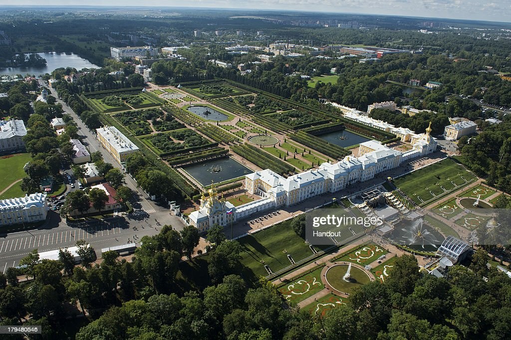 In this handout image provided by Ria Novosti, An aerial view of The Peterhof State Museum Reserve ahead of the G20 summit on August 29, 2013 in St. Petersburg, Russia. The G20 summit is scheduled to run between September 5th and 6th.