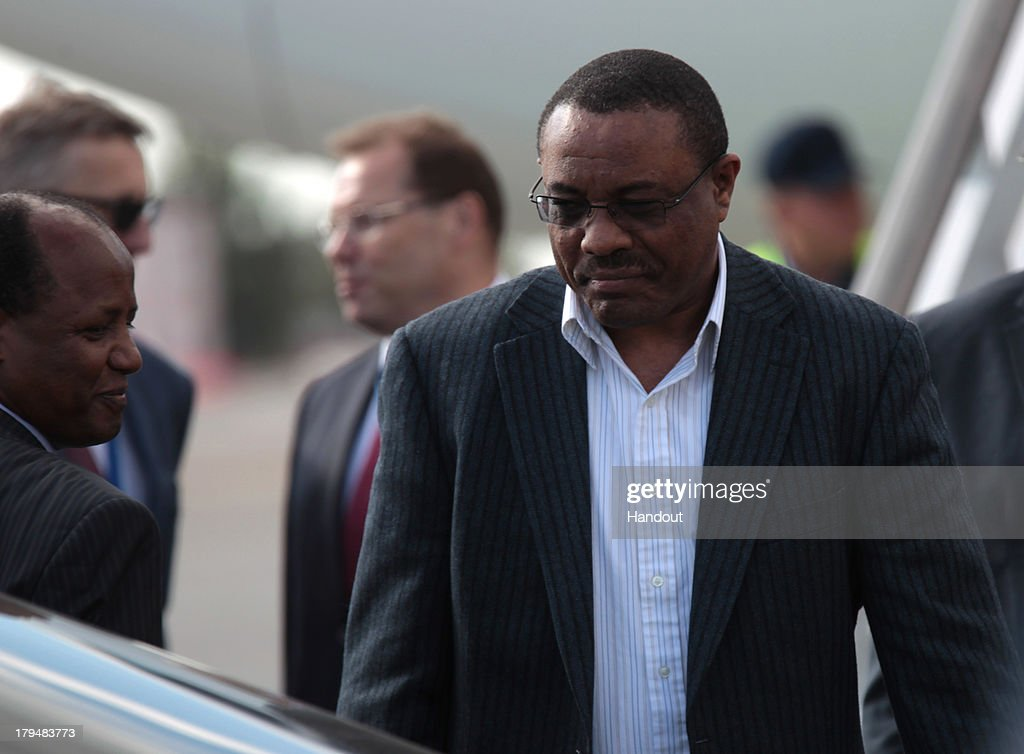 In this handout image provided by Ria Novosti, Prime Minister of the Federal Democratic Republic of Ethiopia, Chairman of the African Union <a gi-track='captionPersonalityLinkClicked' href=/galleries/search?phrase=Hailemariam+Desalegn&family=editorial&specificpeople=7752700 ng-click='$event.stopPropagation()'>Hailemariam Desalegn</a> arrives in Russia ahead of the G20 summit on September 4, 2013 in St. Petersburg, Russia. World leaders are arriving in Russia ahead of the start of the G20 summit which is scheluded to run between September 5th and 6th.