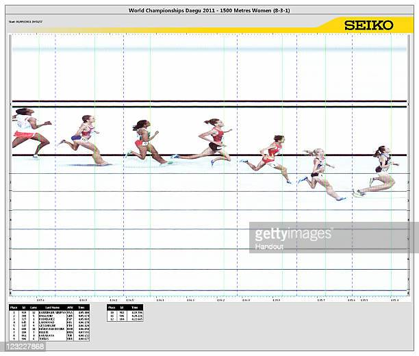 In this handout image provided by Seiko Press Service Jennifer Barringer Simpson of United States crosses the finish line to claim gold ahead of...