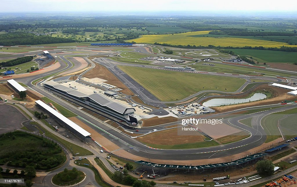 In this handout image provided by Silverstone Circuit An aerial view of the new pits and paddock during the opening of the Silverstone Wing at...