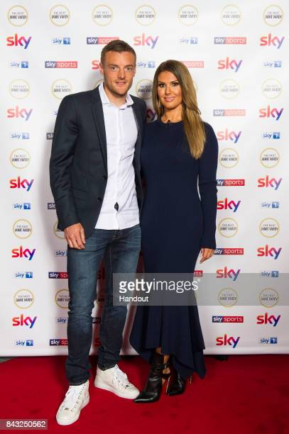 In this handout image provided by Sky Footballer Jamie Vardy poses with his wife Rebekah Vardy as they attend the premiere of 'The Next Jamie Vardy'...