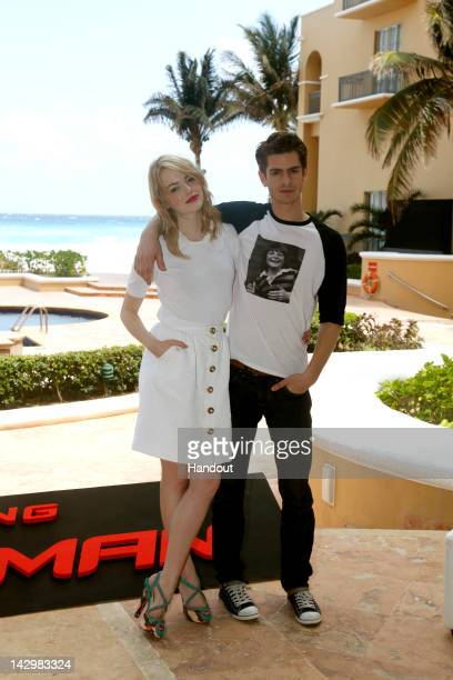 In this handout image provided by Sony actors Emma Stone and Andrew Garfield attend 'The Amazing Spiderman' photo call at Summer of Sony 4 Spring...