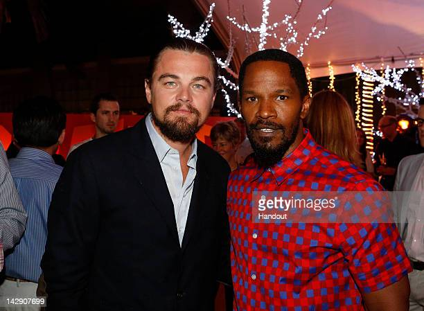 In this handout image provided by Sony actors Leonardo DiCaprio and Jamie Foxx attend the 'Django Unchained' party at Summer of Sony 4 Spring Edition...