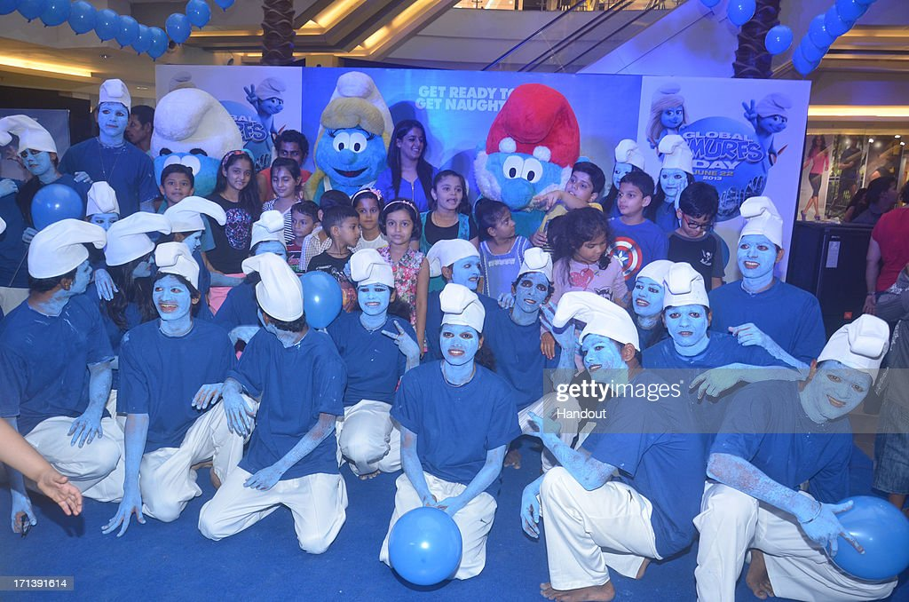 In this handout image provided by Sony Pictures Entertainment, a general view of Global Smurfs Day 2013 celebration at Phoenix Market City on June 22, 2013 in Mumbai, India.