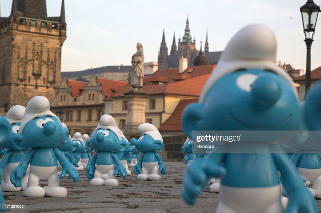 In this handout image provided by Sony Pictures Entertainment, Smurfs invade the Charles' Bridge, built on 1402 AD, in celebration of Global Smurfs Day 2013 on June 22, 2013 in Prague, Czech Republic.