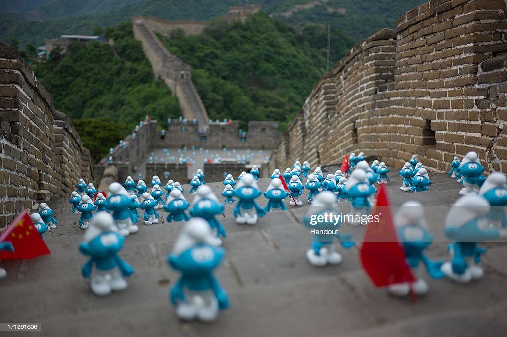In this handout image provided by Sony Pictures Entertainment, Smurfs invade the Beijing Great Wall in celebration for Global Smurfs Day 2013 on June 22, 2013 in Beijing, China.