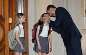 In this handout image provided by Spanish Royal House Princess leonor Princess Sofia and King Felipe VI of Spain at Zarzuela Palace on May 14 2015 in...