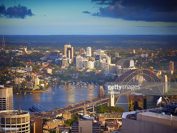 In this handout image provided by Sydney Tower Eye the skyline and harbour of Sydney is seen from a viewing platform at the Sydney Tower Eye on...