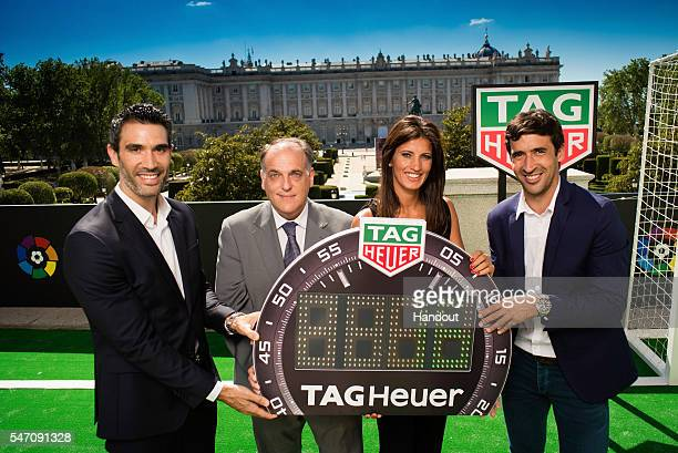In this handout image provided by Tag Heuer Former player Fernando Sanz Javier Tebas President of La Liga Blanca Panzano Managing Director Spain of...