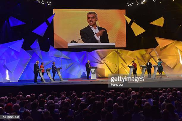 In this handout image provided by the BBC London Mayor Sadiq Khan and the other members of the panel take part in the EU debate at Wembley Arena on...
