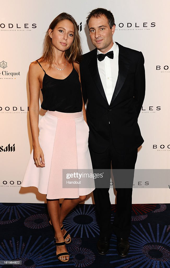 In this handout image provided by the Boodles Boxing Ball Committee Ben Goldsmith and Jemima Jones pose at the Boodles Boxing Ball 2013 on September...