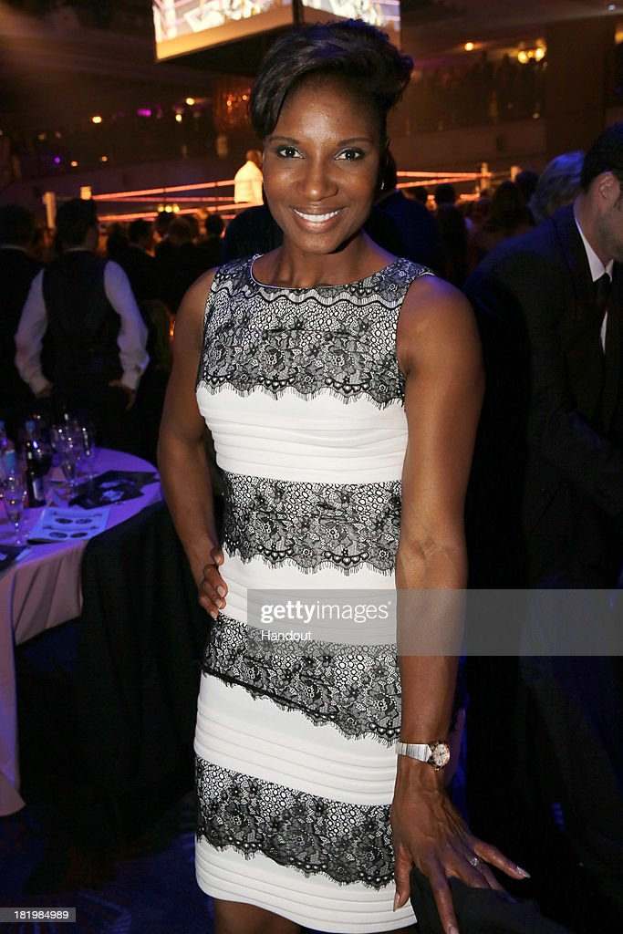 In this handout image provided by the Boodles Boxing Ball Committee, Denise Lewis poses at the Boodles Boxing Ball 2013 on September 21, 2013 at the Grosvenor House in London,England.