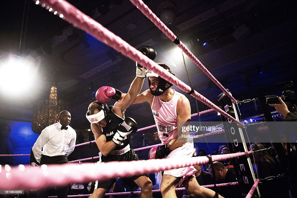 In this handout image provided by the Boodles Boxing Ball Committee, Action from a boxing match at the Boodles Boxing Ball 2013 on September 21, 2013 at the Grosvenor House in London,England.