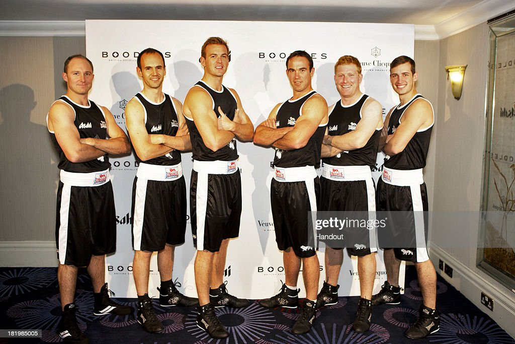 In this handout image provided by the Boodles Boxing Ball Committee, The Boodles boxers pose at the Boodles Boxing Ball 2013 on September 21, 2013 at the Grosvenor House in London,England.