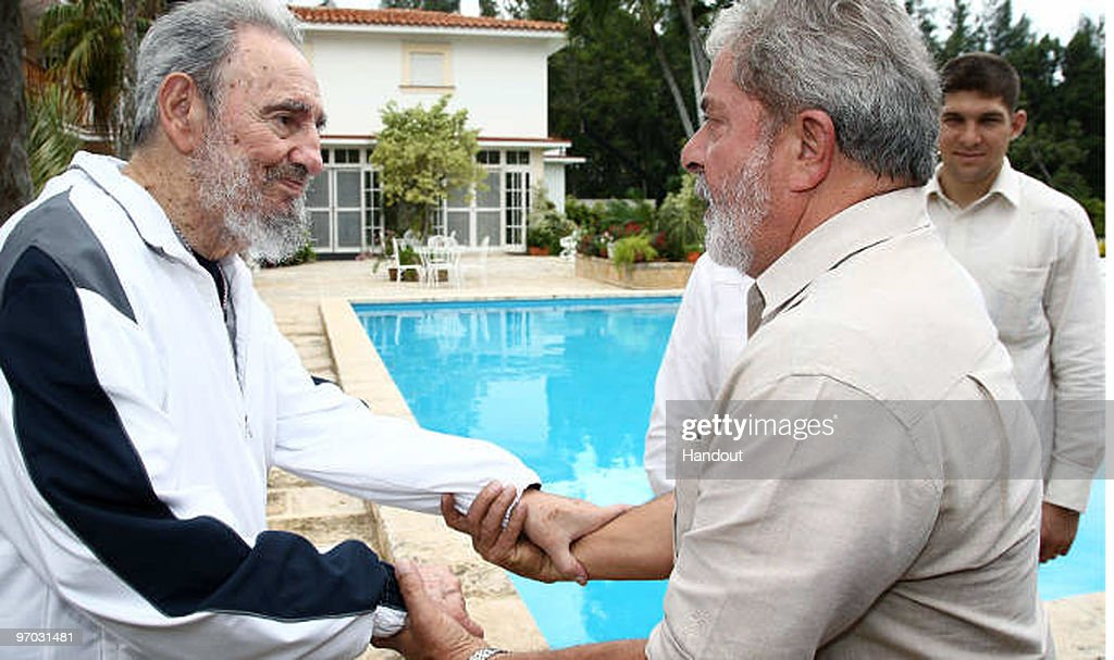 In this handout image provided by the Brazlian Presidency, First Secretary of the Communist Party of Cuba Fidel Castro (L) greets Brazil�s President Luiz Inacio Lula da Silva (R) during a private meeting on February 24, 2010 in Havana, Cuba. Lula is on a two day visit to Cuba after having attended the Summit of the Group of Rio states in Mexico.