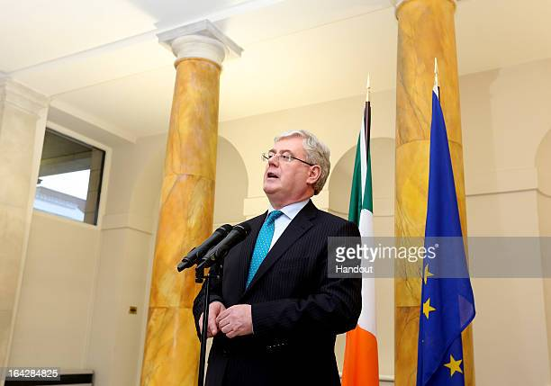 In this handout image provided by The Department of the Taoiseach Eamon Gilmore TD Tánaiste and Minister for Foreign Affairs and Trade is seen prior...