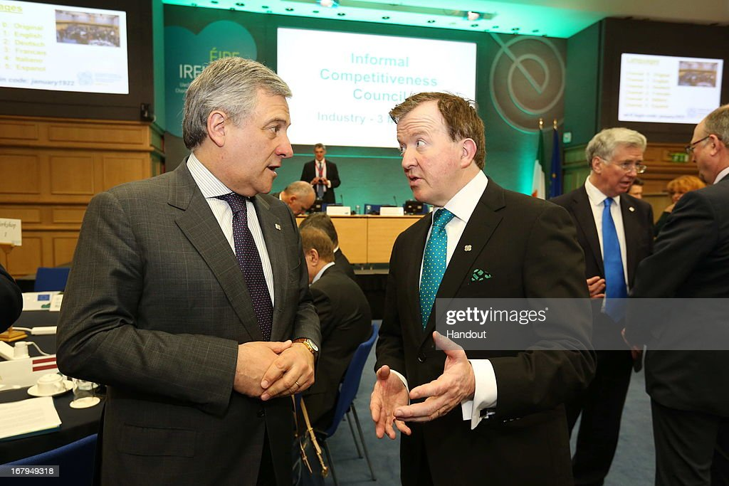 In this handout image provided by the Dept of the Taoiseach, <a gi-track='captionPersonalityLinkClicked' href=/galleries/search?phrase=Antonio+Tajani&family=editorial&specificpeople=5429212 ng-click='$event.stopPropagation()'>Antonio Tajani</a>, (L) Vice President of European Commission with responsibility for Industry & Entrepreneurship speaks to John Perry TD, Minister of State with responsibility for at the Department of Jobs, Enterprise and Innovation, ahead of the final day of the Competitiveness Council meeting in Dublin Castle on May 03, 2013 in Dublin, Ireland. The Council have met in two configurations on Thursday and today under the overall theme 'Innovative Pathways to Jobs and Growth'.