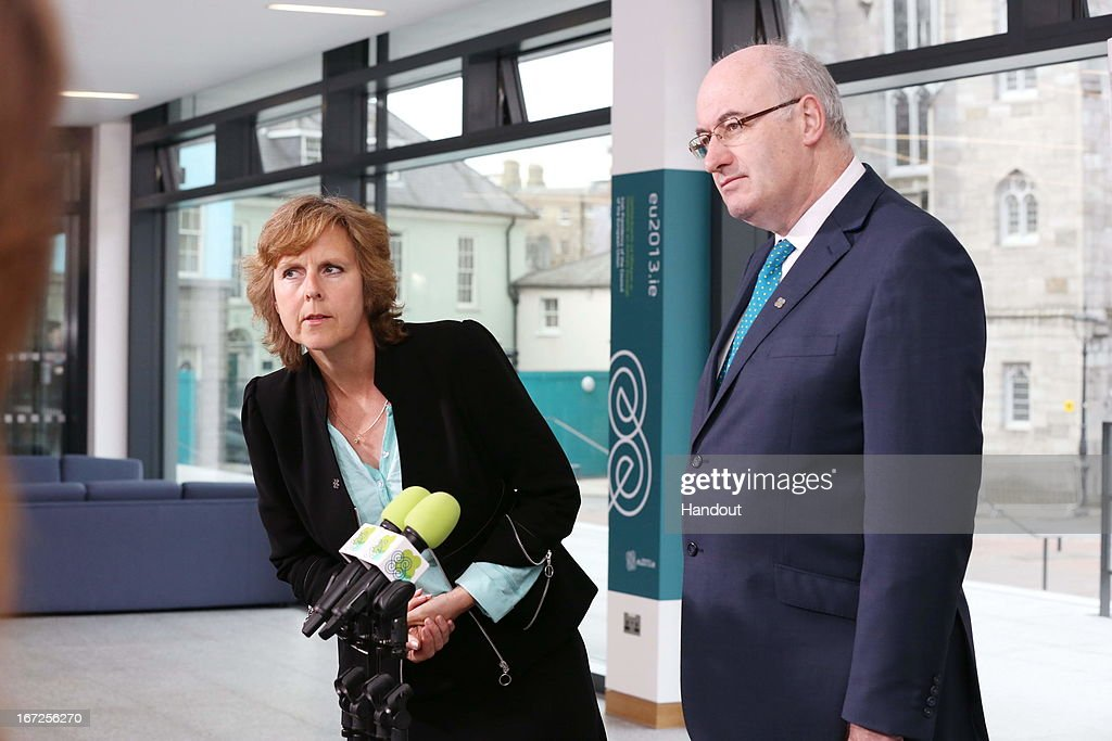 In this handout image provided by the Dept of the Taoiseach, Connie Hedegaard, EU Commissioner for Climate Action (L), and Phil Hogan, Irish Minister for the Environment, Community and Local Government speak during a press briefing at the Informal meeting of Environment Ministers at Dublin Castle on April 23, 2013 in Dublin Ireland. During the meeting issues such as resource efficiency and climate change within the EU were discussed.